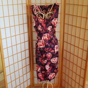 Apt. 9 Red Pink Purple Floral Print Dress